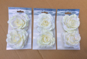 Pack X6 Floating Roses Cream/white Artificial Silk Flowers Wedding