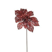 Red Glitter Poinsettia Picks X 3. Great For Wreath Making