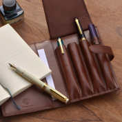 Carefully selected high-quality cowhide pencil case 4 difference and writing room Organiser pen cover / note B6 variant type size! Futoshi axis fountain storage.