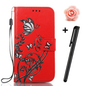 Sony Xperia E5 Case,TOYYM Ultraslim PU Leather Flip Cover Wallet Bumper Case with [Card Slots] [Kickstand] [Magnet Closure],Colourful Butterfly and Flower Pattern Design Bookstyle Leather Protective Full Body Case Cover for Sony Xperia E5,Red