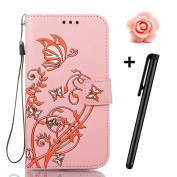 Sony Xperia E5 Case,TOYYM Ultraslim PU Leather Flip Cover Wallet Bumper Case with [Card Slots] [Kickstand] [Magnet Closure],Colourful Butterfly and Flower Pattern Design Bookstyle Leather Protective Full Body Case Cover for Sony Xperia E5,Pink