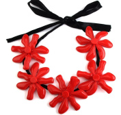 XX Five Flower Resin Necklace , Red,red