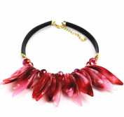 XX Resin Flower Necklace Accessories , Red,red