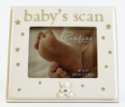 New Baby's Scan Photo Frame Cream Diamante Star Keepsake Mum To Be Shower Gift