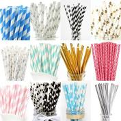 Paper Drinking Straws Birthday Wedding Party Baby Shower Tableware Stripe Dots