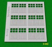 D-002 Proses Oo - 6 Pcs 36x23mm 6 Lite Dbl Unit Garage Doors