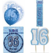 16th Birthday Glitz Blue/silver Party Pack Balloons Banner Candle Badge