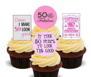 50th Birthday Female Funny, Edible Cupcake Toppers - Stand-up Wafer Cake Pack Of