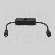 Black Inline 12v Dc On/off Switch 2.1mm Connectors Led Strip Cctv Accessories Uk