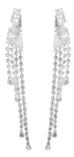 Costume Silver and Clear Diamante Long Twist Drop Clip on Earrings