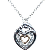 Mother and Baby Heart Necklace Silver and Gold Plated Mother and Son Mother and Daughter Gift Box