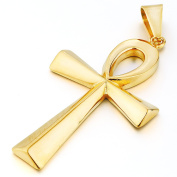 MENDINO Mens Egyptian Ankh Cross Stainless Steel Pendant Necklace Chunky Gold Colour Polished Womens Unisex With 60cm Link Chain