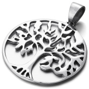 MENDINO Tree of Life Irish Stainless Steel Pendant Necklace Smooth Hollow Mens Womens Silver Colour With 60cm Link Chain