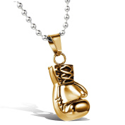 MENDINO Mens Boxing Gloves Pendant Stainless Steel Necklace Christian Everlast Gold Colour Polished With 60cm Link Chain