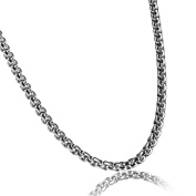 Flongo Men's Womens Stainless Steel Wheat Link Necklace Replacement Chain, 60cm Chain