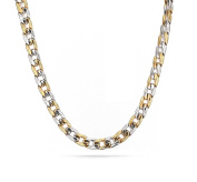 Vnox Stainless Steel Two Tone Engraving Edge Curb Chain Necklace for Men 7.0mm,24 Inches