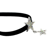 VALE IMPRESSION Black Velvet Choker Necklace Colourful Zircon Star Choker for Women Girls