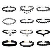 OULII 12pcs Black Velvet Choker Necklace Tattoo Collar Necklace
