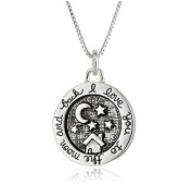 """Mrs IXIQI 9ct White Gold Plated Moons And Stars Cross pendant Necklaces Engraved With """" I love you to the moon and back"""" For Women"""