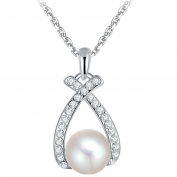 Mrs IXIQI Heart Love Pearl cross Pendant Necklace for Women Birthday Gifts Present Birthday 45cm Chain