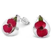 Sterling Silver Small Tear Drop Stud Earrings Made With Real Poppies