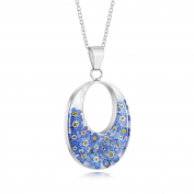 Sterling Silver Large Double Oval Pendant Made With Real Forget Me Nots