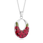 Sterling Silver Large Double Oval Pendant Made With Real Poppies