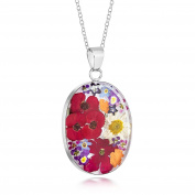 Sterling Silver Large Oval Pendant Made With Real MixedFlowers …