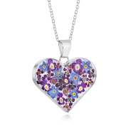Sterling Silver Large Heart Pendant Made With Real Purple Mix Flowers