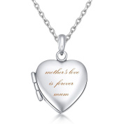 "IXIQI Jewellery Heart Locket "" Mother's Love is Forever Mum "" Heart Infinity Love Locket Necklace Necklaces Gifts Present for Women Can Open For Photo 46cm Titanium Chain"