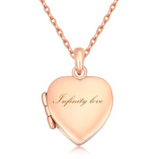 "IXIQI Jewellery Locket Engraved "" Infinity Love "" Heart Locket Necklace Necklaces Gifts Present for Women Photo,45cm Chain"