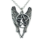 Angel Wings and Pentagram Symbol Pendant Necklace. Antique Silver Finish.