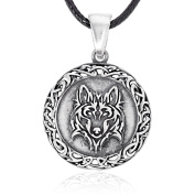 Llords Jewellery Celtic Wolf Pendant Necklace + Silver Plated Clasp, Fine Pewter Jewellery