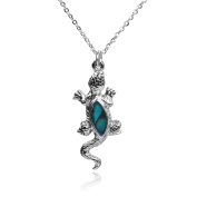 Barch Young Charming Abalone Blue Paua Shell Gecko Mood Necklace Silver Chain Choker of Length 46cm
