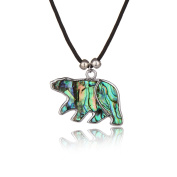 Barch Young Blue Abalone Paua Shell Polar Bear Pendant Necklace Silver with Wax Cord/Stainless Steel Chain
