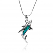 Blue Young Abalone Paua Shark Plus+ Pendant Mood Necklace with Stainless Steel Chain and Wax leather cord for Gift Jewellery