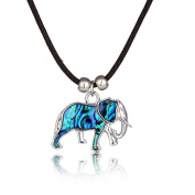 Barch Young Blue Abalone Paua Shell Elephant Pendant with Silver Necklace on Stainless Steel Chain and Wax Leather Cord of Length 46cm