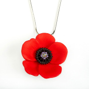 The 5 Petal Poppy Large Pendant Necklace, Enamel Rhodium Plated set with Crystal