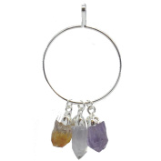 Hanging Amethyst, Clear Quartz & Citrine Crystal Points in Silver Hoop Pendant