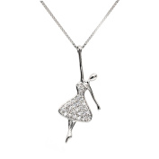 VALE IMPRESSION Elegant 925 Sterling Silver Dancer Pendant Necklace Jewellery for Women Girls