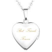 """Mrs IXIQI Titanium Infinity Love Heart Pendant Necklace Locket Engraved With """"Best friend forever"""" Gifts Present For Women With 45cm Chains And Fashion Box"""