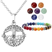 JSDDE 7 Chakra Natural 8mm Gemstones Beads Tree Of Life Locket Pendant Necklace & Chakra Reiki Healing Bracelet - Chakra Crystal Healing Jewellery Set
