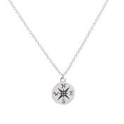 925 Sterling Silver Plated Compass Charm Pendant Necklace