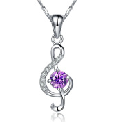 925 Sterling Silver Genuine Micro CZ Purple Rhinestones 3D Music Note Charm Pendant Necklace 46cm