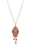 "SATELLITE Women's ""Stromboli"" Gold Plated Brass Oval Turquoise Red Chandelier Beads Chain Necklace of 55cm"