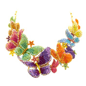 Butler and Wilson Large Crystal Multi Butterflies and Flowers Necklace