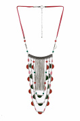 Metal Alloy Layered Red/Green Stone Statement Necklace