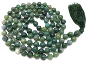 Moss Agate Japa Mala 108 beads each 8 mm wide, with knots in between, plus 1 larger guru bead, 42 inches in length, with real gemstones, for use in Meditation or as a Necklace
