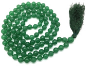Green Aventurine Japa Mala 108 beads each 8 mm wide, with knots in between, plus 1 larger guru bead, 39 inches in length, with real gemstones, for use in Meditation or as a Necklace