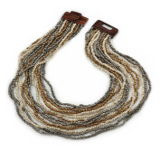 Antique White/ Metallic Grey/ Bronze Gold Glass Bead Multistrand, Layered Necklace With Wooden Square Closure - 64cm L